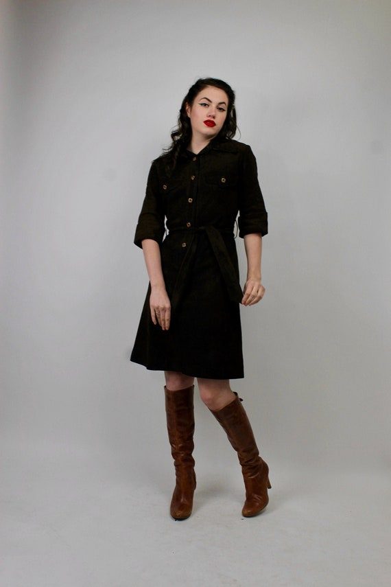 70s Brown Suede Leather Dress/ Vintage Leather Dre