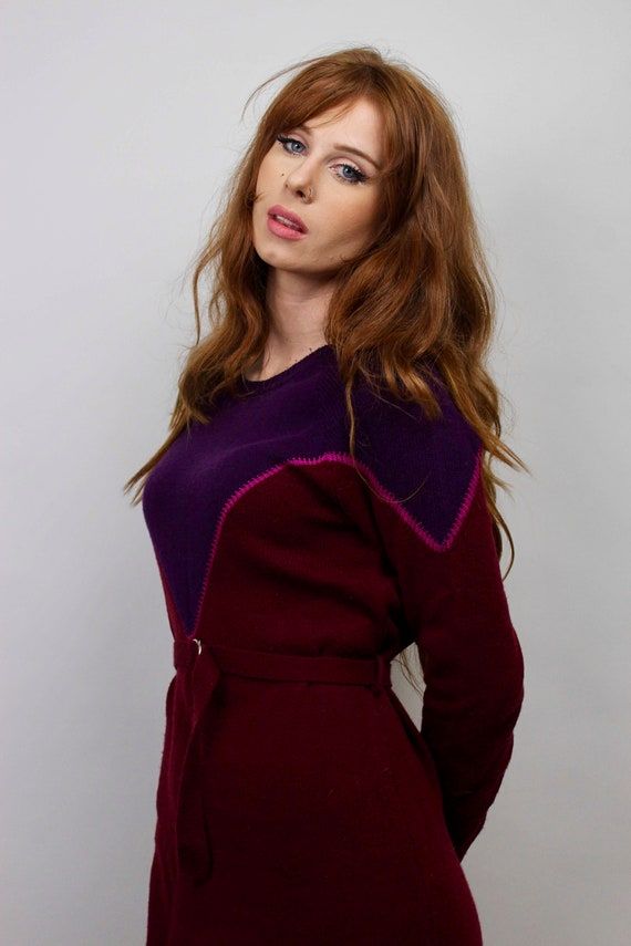 Vintage Sweater Dress/ Purple Sweater Dress/ Bloc… - image 8