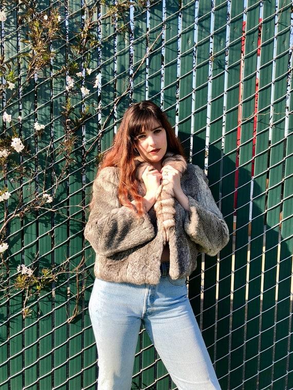 Vintage Fur Coat/ Gray Vintage Fur Coat/ 80s Fur C
