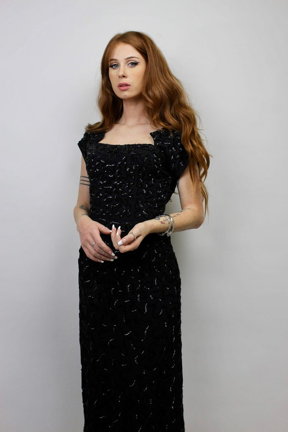 40s Black Sequin Dress/ 40s Hand Beaded Black Dres
