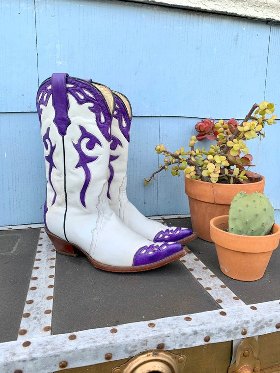 Vintage White Cowboy Boots/ White with Purple Inla