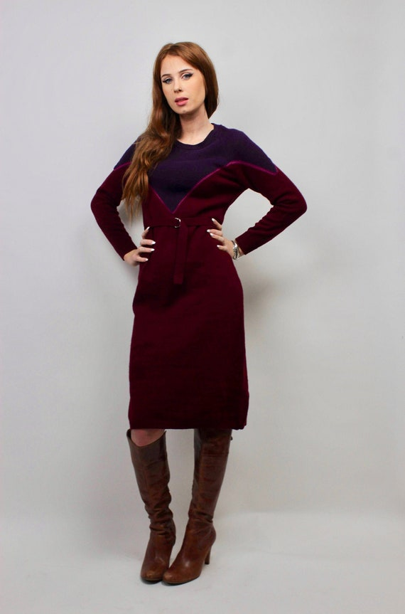 Vintage Sweater Dress/ Purple Sweater Dress/ Bloc… - image 1
