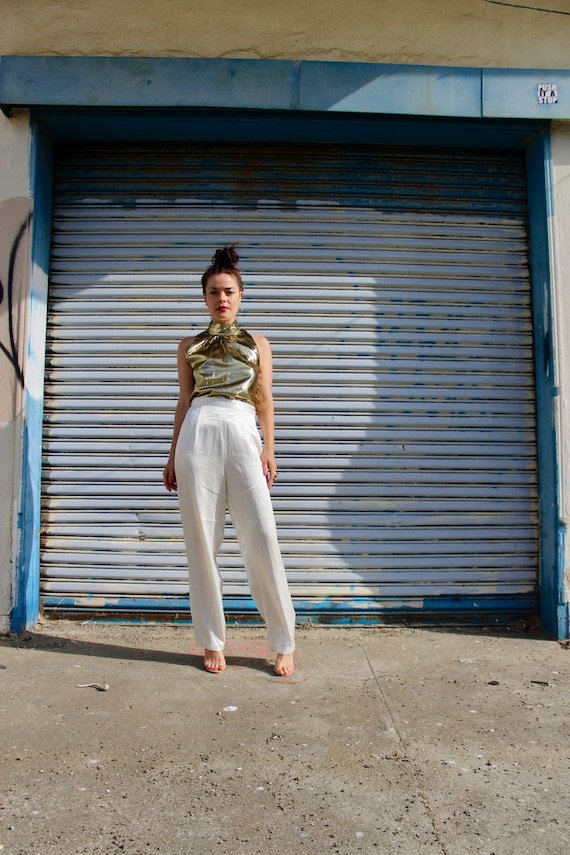 White Silk Pants/ Vintage High Waisted White Pants
