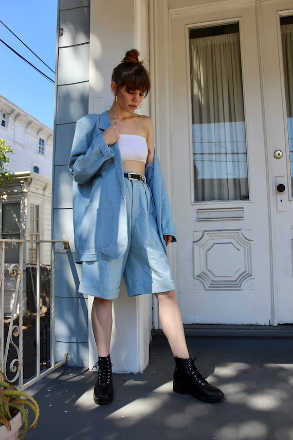 80s Denim Blazer/ 80s Denim High Waisted Shorts/ O