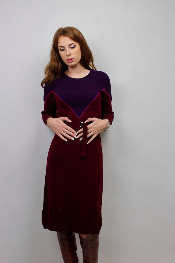 Vintage Sweater Dress/ Purple Sweater Dress/ Bloc… - image 5
