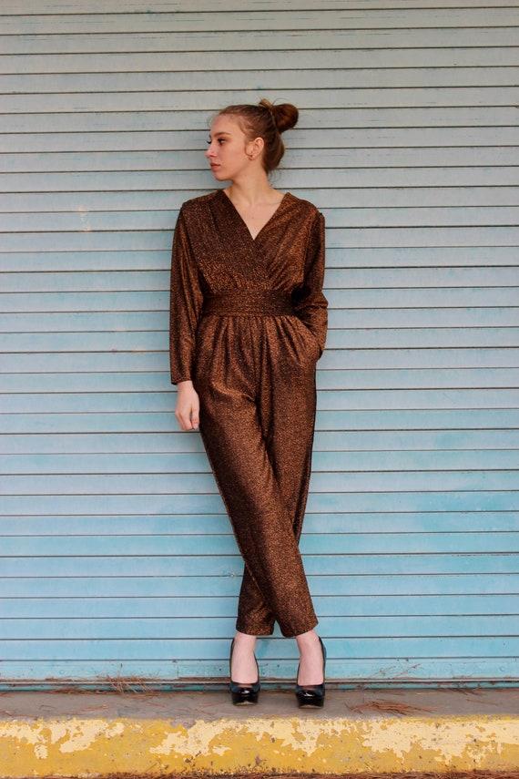 1980s Straight Leg Jumpsuit/ Brown Lurex Straight