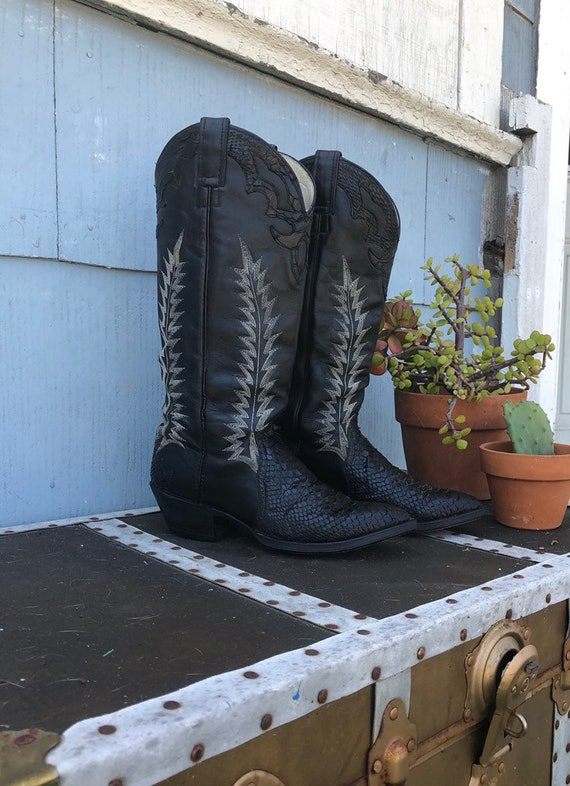 Vintage Black Snakeskin Cowboy Boots/ Stitched Cow
