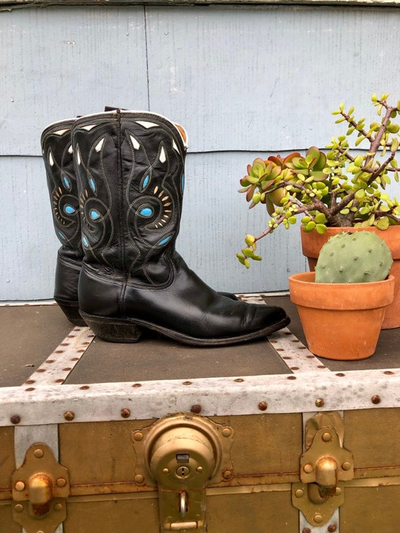 Black Vintage Cowboy Boots/ Cowgirl Boots/ Vintag… - image 6