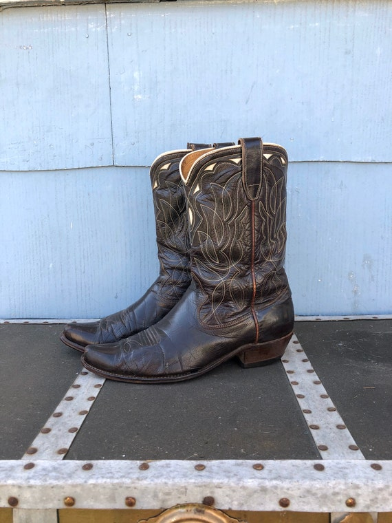 Vintage Inlay Cowboy Boots/ Cowgirl Boots/ Weather