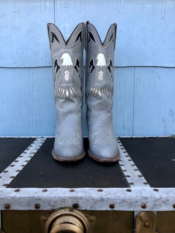 Vintage Eagle Cowboy Boots/ Cowgirl Boots/ Gray Vi