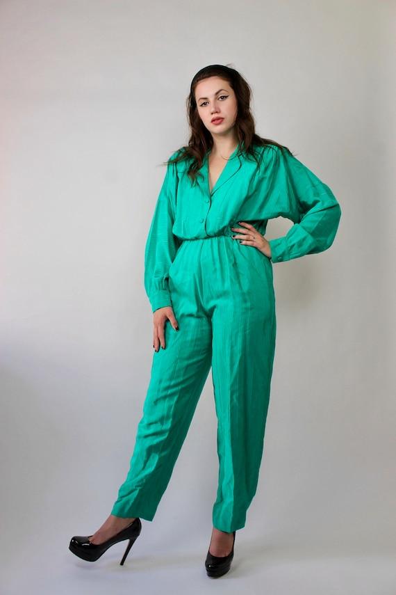 80s Green Button Up Jumpsuit/ 80s Straight Leg Jum