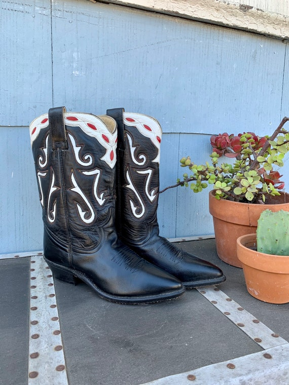 Vintage Acme Inlay Cowboy Boots/ Red and White Inl