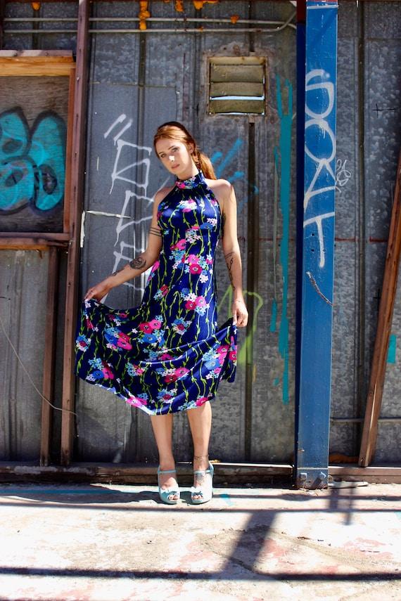 60s Flower Print Dress/ Vintage Flower Print Dress