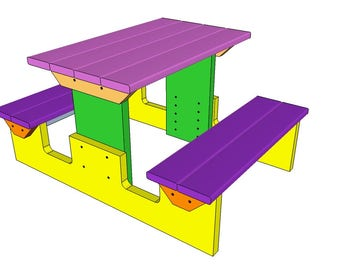 Incredible Kids Picnic Table Etsy Download Free Architecture Designs Scobabritishbridgeorg