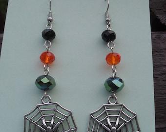 Earrings, Halloween earrings, dangle earrings, drop earrings, halloween, spider web, spiders, seasonal jewelry