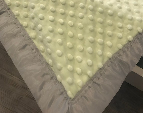 Celery green and gray minky and satin 30 x 35 baby blanket