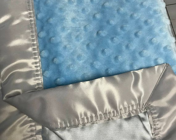 Baby blue minky  blanket with gray satin backing and binding 30 x 35