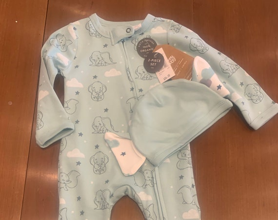 Dumbo knit pajama and hat set for Gabrielle and Tyler Hindman