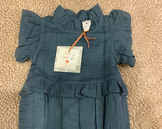 6-12 mo Kate Quinn Blue Gauze Romper for Dylan and Carissa