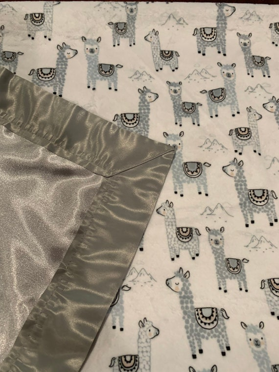 Alpacas minky and satin baby blanket 30 x 35