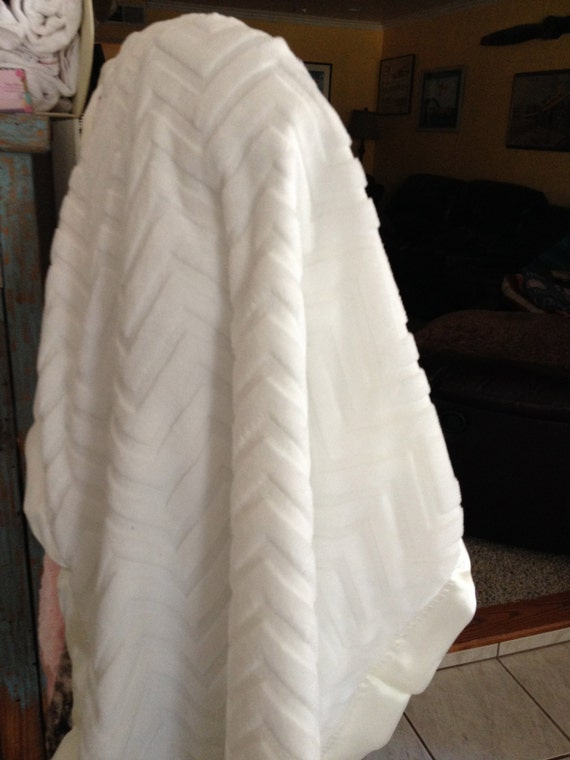 30 x 35 White Chevron embossed Minky Baptism blanket with satin backing and binding, FREE embroidery and matching burp cloth