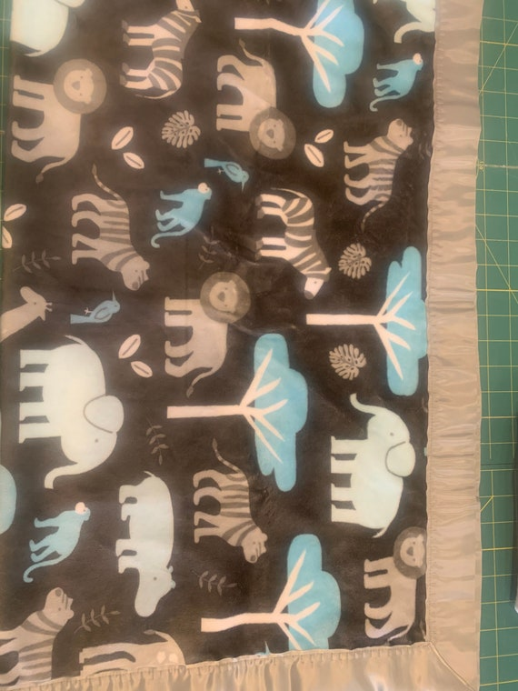 Safari animals grey 30 x 35 minky baby blanket