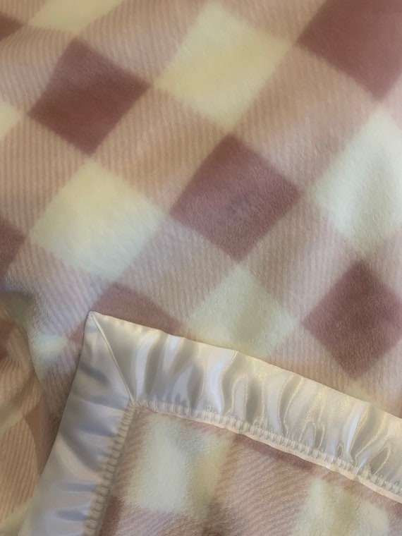 Pink purple buffalo check double minky baby blanket