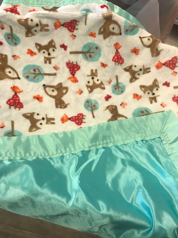 Forest baby deer trees minky and satin 30 x 35 baby blanket
