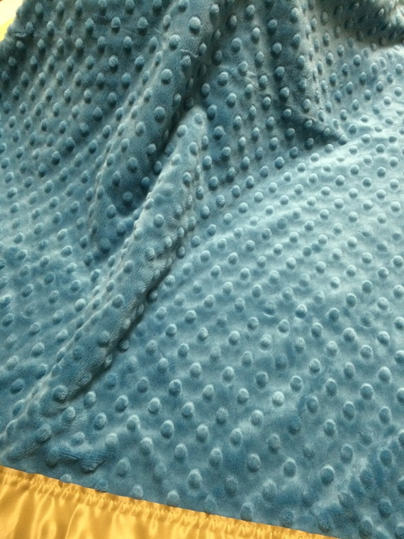 French blue and gold minky dot car seat blanket 30 x 33