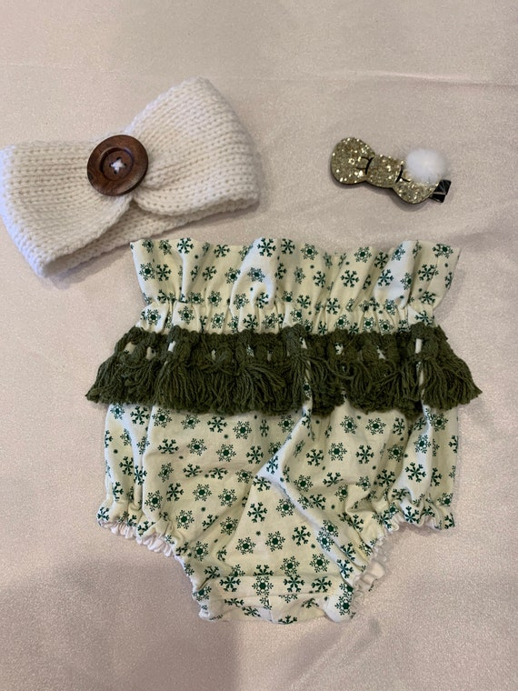 Christmas green high waisted bloomers with dark cactus green fringe trim