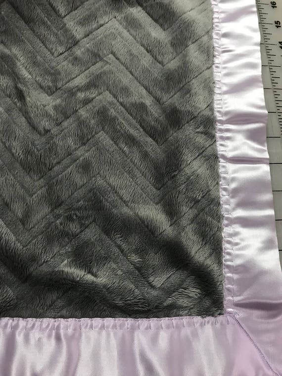 Grey chevron minky car seat blanket with lavender satin backing and binding 30 x 35