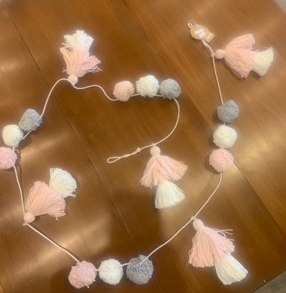 "Pink, grey, white double tassel and pom pom  75"" garland by Mud Pie"