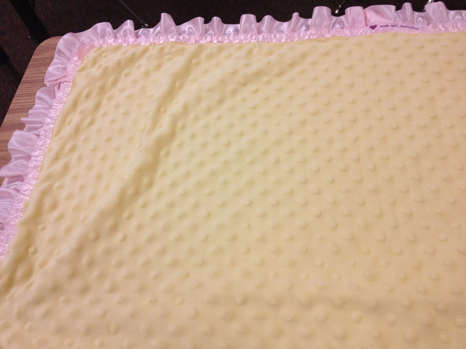 31 X 36 Yellow Minky Dot Baby Blanket With Yellow Satin Backing And Pink Ruffle