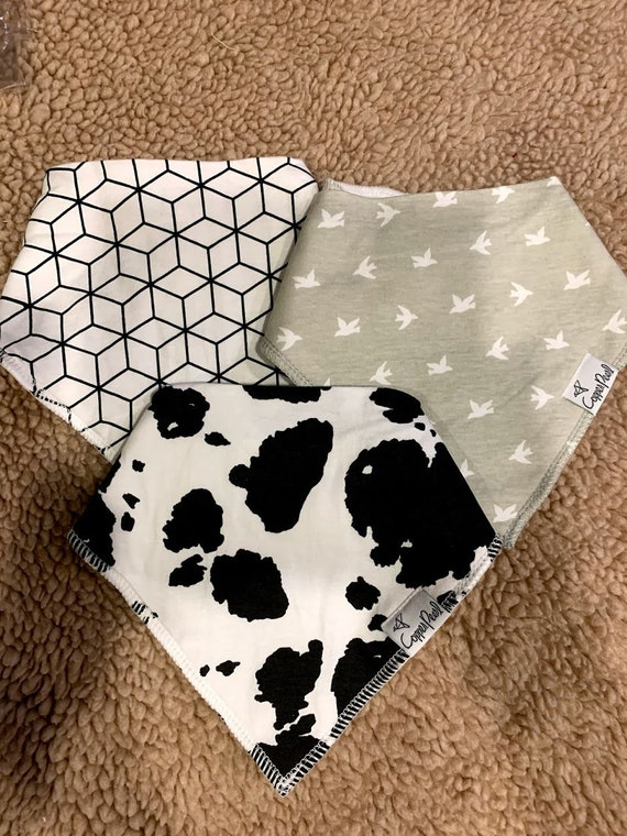 Trio of Copper Pearl bandana bibs - cow, bird, geometric for Carissa and Dylan