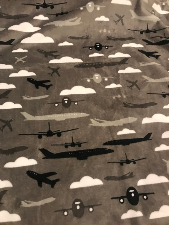 Gray minky and satin airplanes 30 x 35 minky blanket