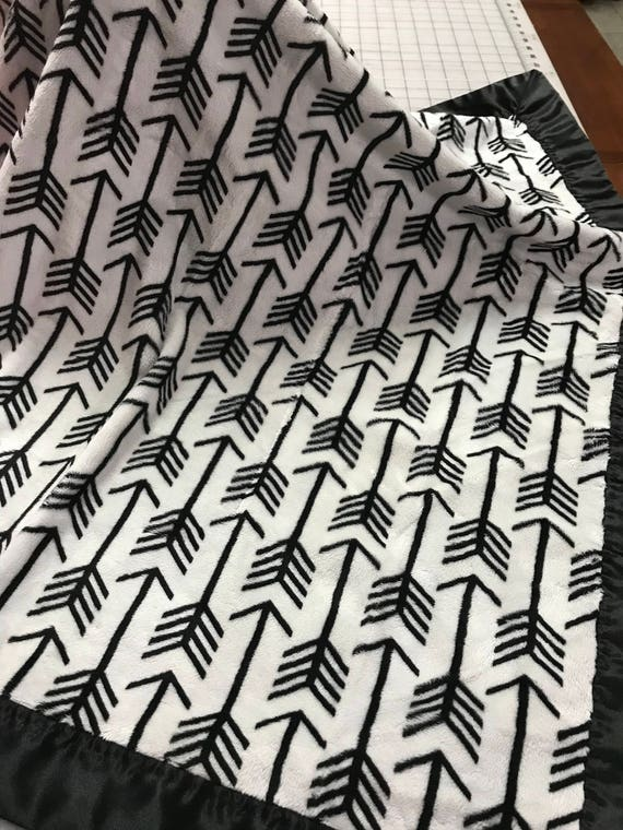 Black and white arrow minky and satin baby blanket 30 x 35