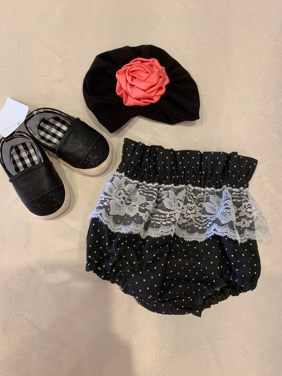 Black and white polka dot high waisted bloomers