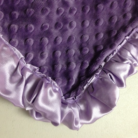 30 x 35 Purple minky baby blanket with satin backing and ruffles
