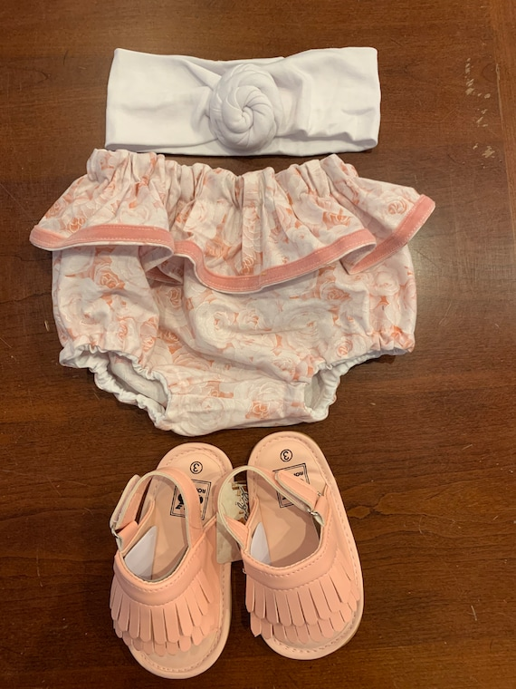 Rose pink ruffle bloomers with vintage pink trim