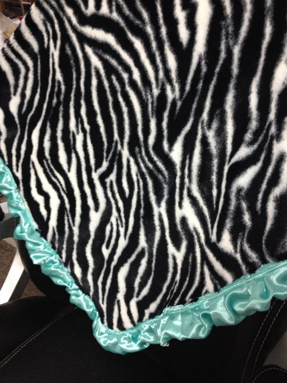 30 x 33 Zebra stripe cuddle baby blanket with aqua ruffle