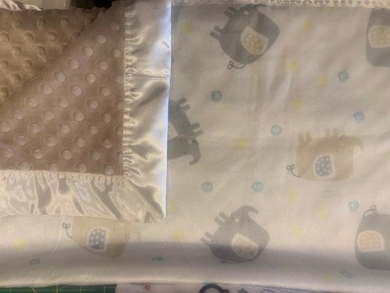 Grey beige elephants double minky baby blanket