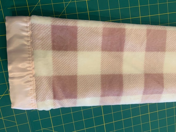Blush white buffalo check minky dot and satin baby blanket 30 x 35