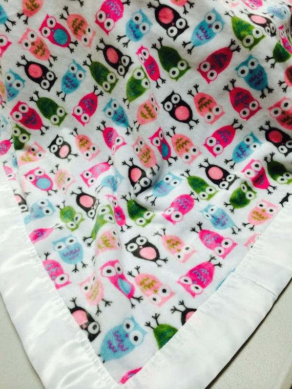 30 x 35 Fuchsia Pink Night Owls Minky blanket with white satin binding