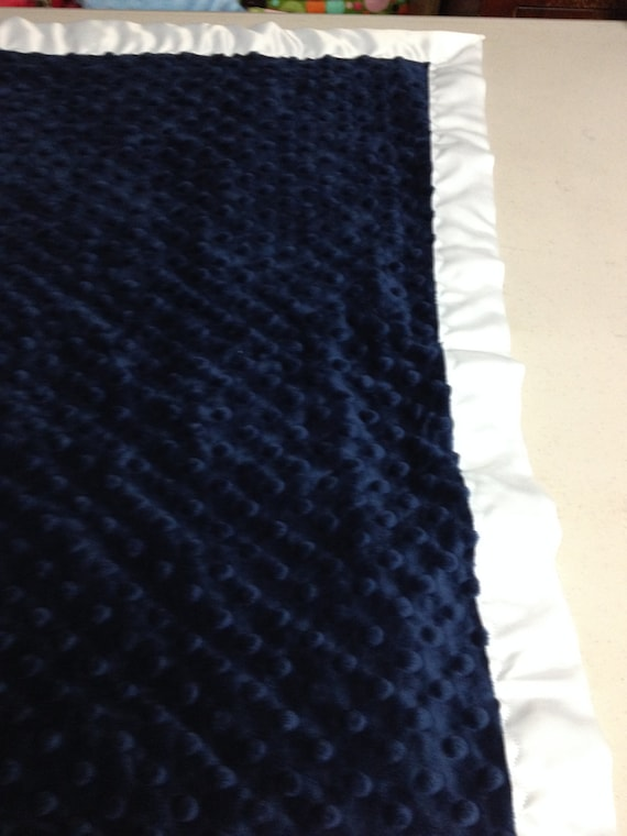 30 x 35 Navy minky dot blanket with lime satin backing and white binding