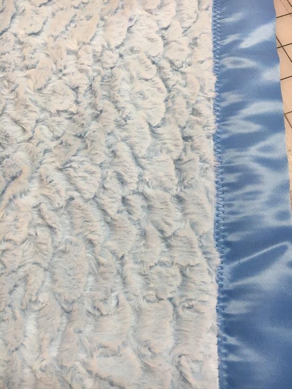 Corky Cuddle minky plush baby blue blanket 30 x 30