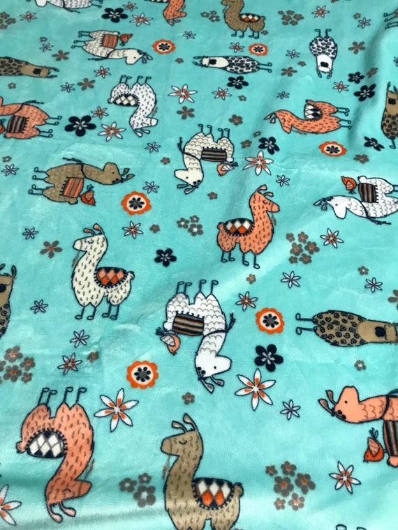 30 x 36 llama minky baby blanket with navy satin backing and binding