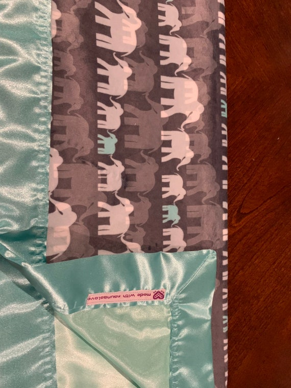 Neutral elephants minky and satin baby blanket 30 x 35