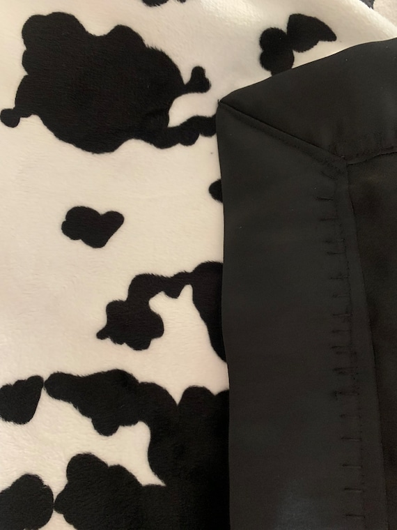 Cow print minky and satin baby blanket 30 x 35