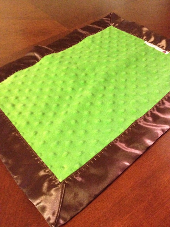 31 x 35 Lime minky dot car seat blanket with brown satin backing and binding