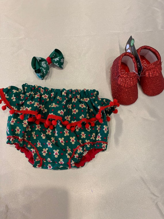 Christmas red green gingerbread cookie bloomers